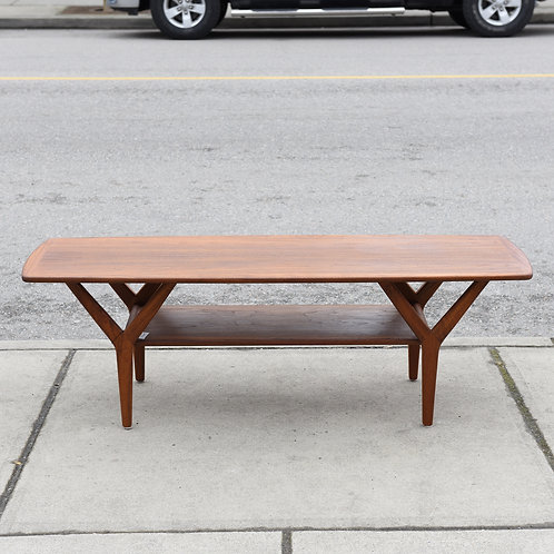 "Vintage Mid Century Modern Walnut ""Y"" Legs Coffee Table"