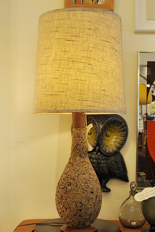 Vintage Mid Century Danish Modern Tall Cork Table Lamp