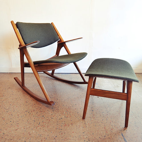 Vintage Oak Rocking Chair with Stool