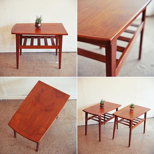 Sleek Danish Modern Teak Side Tables.