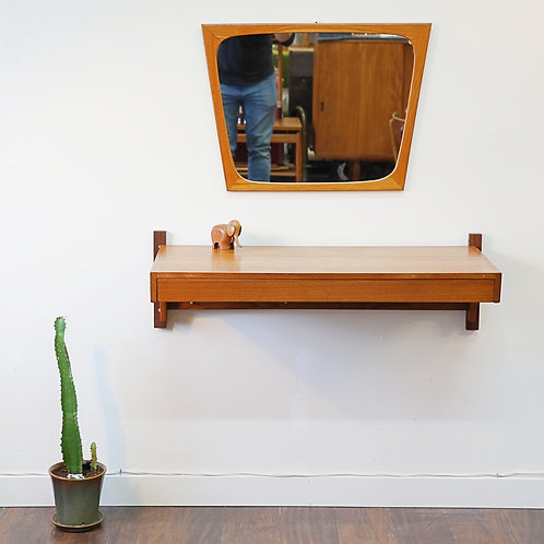 Danish Teak Floating Shelf/Vanity with Trapezoid Mirror