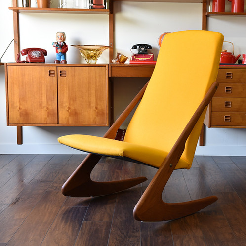 Danish Modern Teak Boomerang Rocking Chair By Mogens Kold