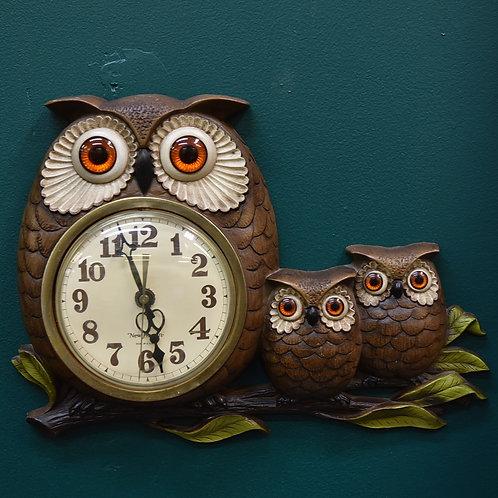 Vintage 1970s Owl Wall Clock