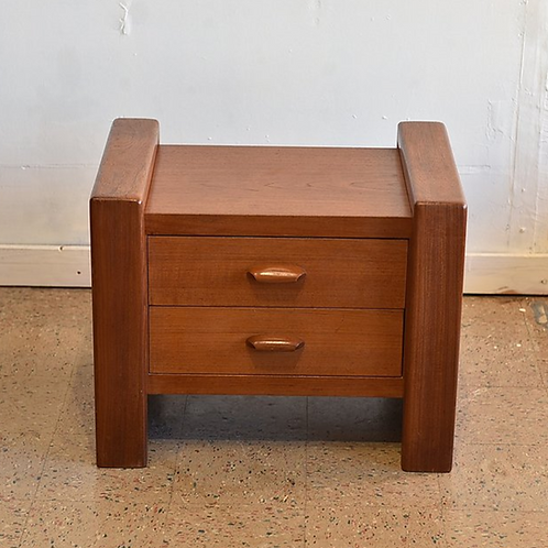 50%OFF, Vintage Teak Side Table with 2 Drawers