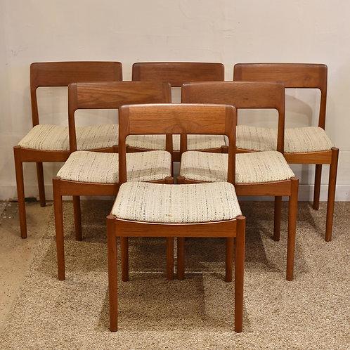 Set of 6 Mid-Century Modern Teak Dining Chairs