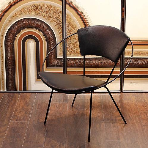 Vintage Black Vinyl Hoop Chair
