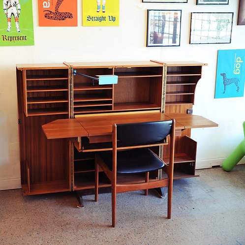 Danish Mid Century Modern Teak Box Fold Away Desk