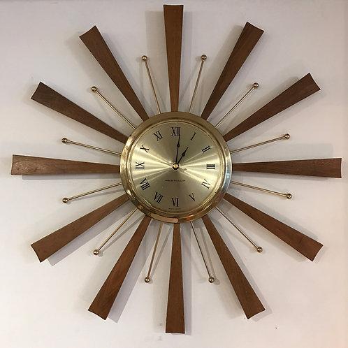 Vtg MCM Westclox Sunburst Clock