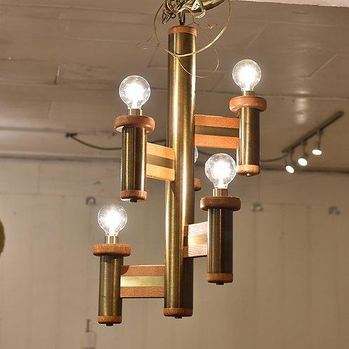 Vintage Atomic Oak & Brass Hanging Light