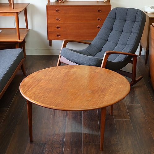 Danish Modern Teak Round Coffee Table by Elsteds Møbelfabrik