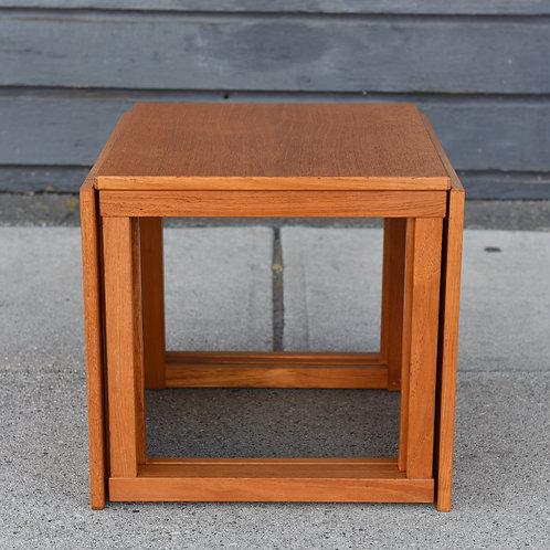 Vintage Mid Century Teak Cube Nesting Tables