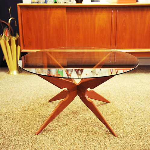 Vintage Teak & Smoked Glass Danish Side/Coffee Table by Sika Mobler