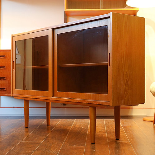 Danish Modern Glass Door Cabinet by Carlo Jensen for A/S Hundevad & Co.