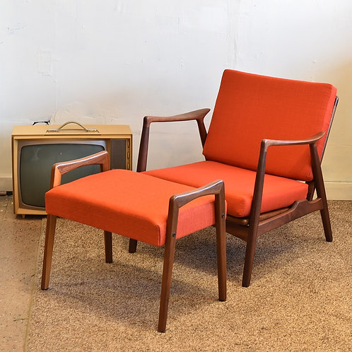 Danish Modern Easy Chair with Matching Stool