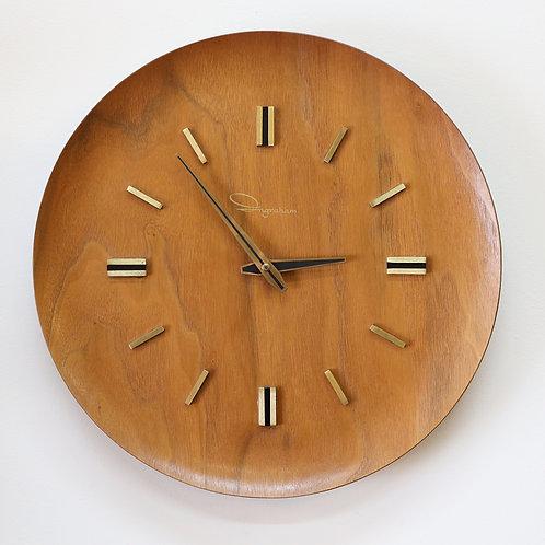 Vintage Round Teak Wall Clock by Ingraham