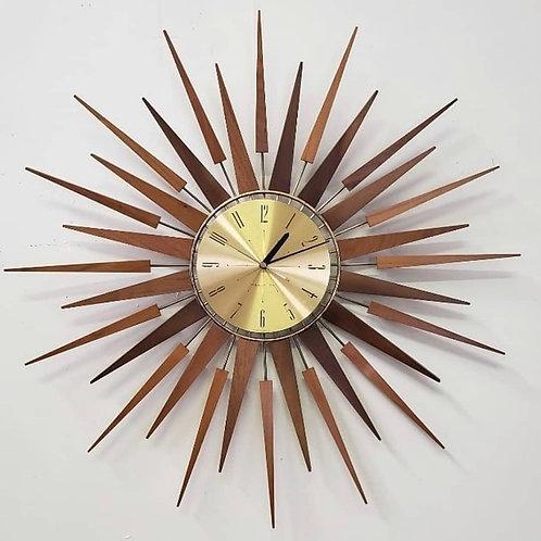 Amazing rarefied, Starburst wall clock, teak + brass
