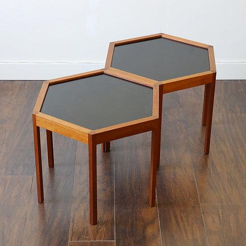 Pair of Designer's Hexagonal Teak Side Tables