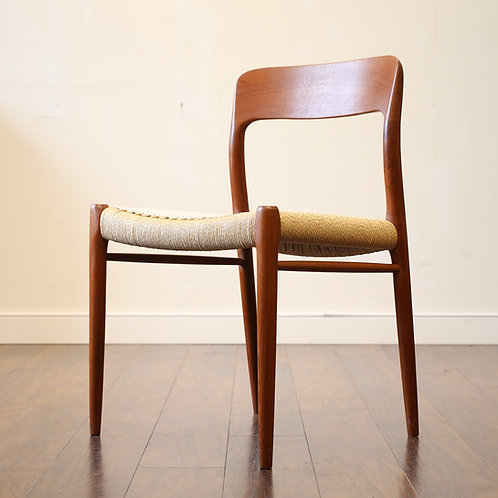 Danish Modern Model 75 Side Chair by Niels Moller with BRAND NEW Danish cord