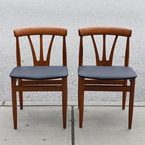 Pair of Danish Teak Restored/Reupholstered Chairs