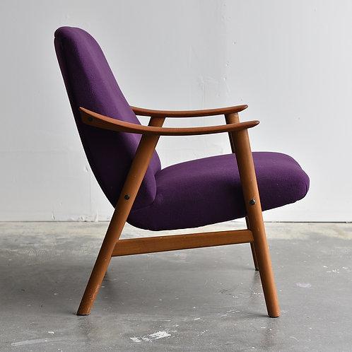 15%OFF,Mid Century Modern Teak Lounge/Easy Chair in Purple Cashmere