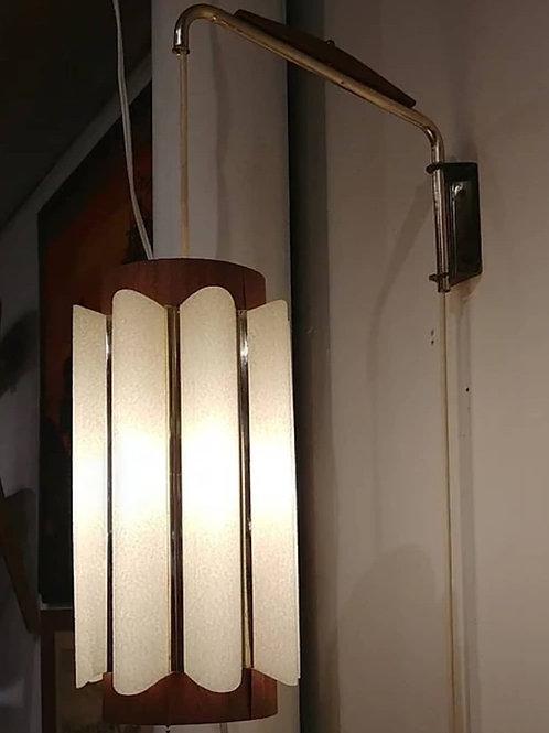 Rare Danish modern teak trim + plastic shade Wall lamp