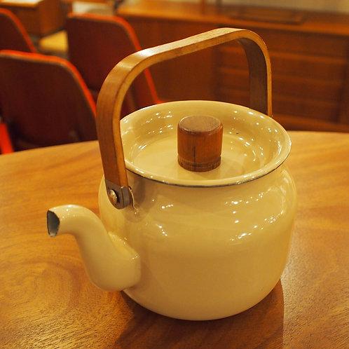 Vintage Arabia(Finland) Enamel Tea Pot with Teak Handles
