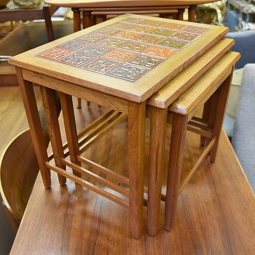 Vintage Teak & Ceramic Tile Nesting Tables