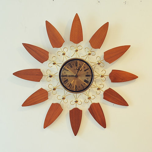Vtg Sunburst Wall Clock