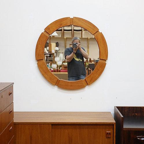 Vintage Unique Teak Round Mirror
