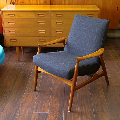 Vintage Walnut Armchair in Style of Arne Hovmand Olsen