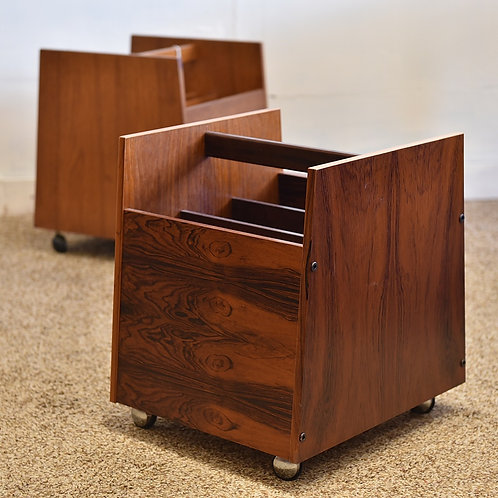 Beautiful Mid Century Modern Rosewood Vinyl Records / Magazine Cart Trolley