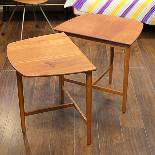 Danish Modern SOLID Teak Side Tables by Fritz Hansen