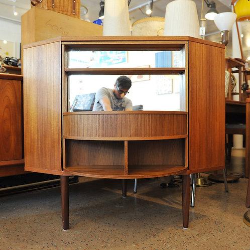 Mid-Century Danish Modern Teak Corner Bar Cabinet