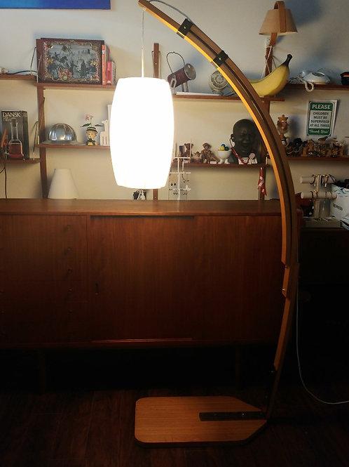 15%Off, Danish teak Arc lamp, Extending frame, Cocoon lamp shade