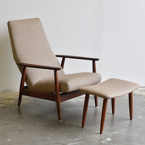 Mid-Century Modern Teak Recliner with Matching Stool