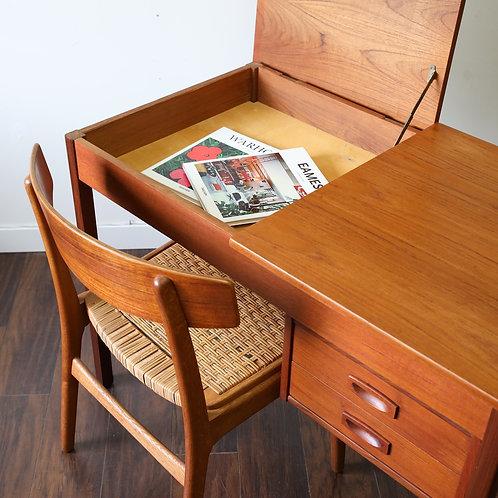 Compact Danish Teak Vanity / Desk