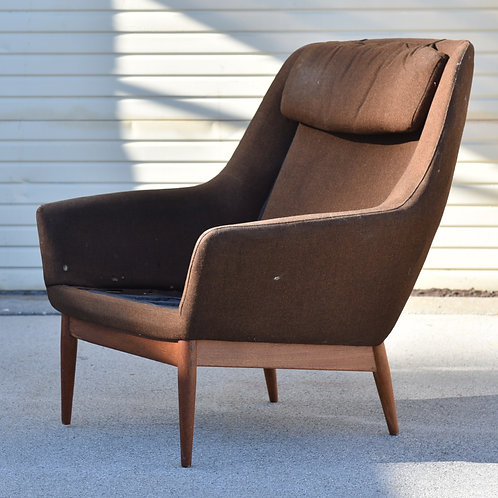 Norwegian lounge chair, Reupholstery needed, As is
