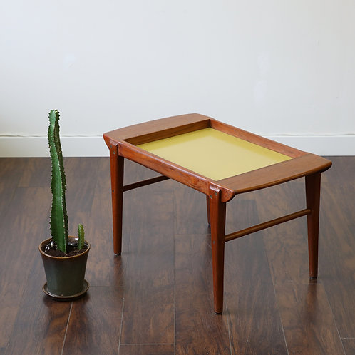 Cute Danish Teak Tray Table with Unique Yellow Formica Top