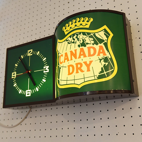 20%Off, Vintage CANADA DRY Lightbox Clock