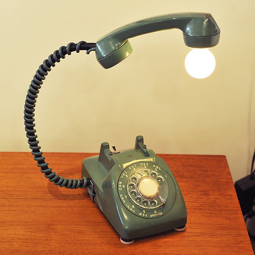 Upcycled Vintage Rotary Phone Table Lamp by Banana Lab.