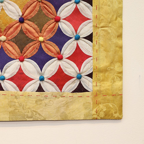 Old fabric tapestry work, Bojagi, Hand made, upcycled from old blankets