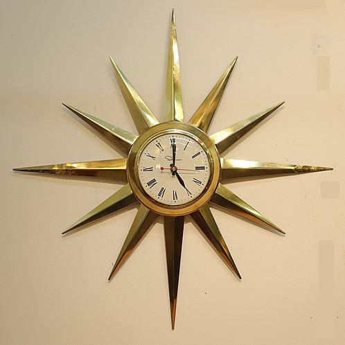 Vintage Brass Starburst Clock by Ingraham