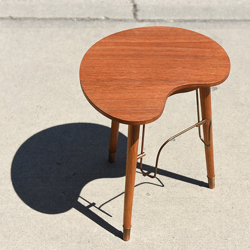 Danish Modern Teak Side Table with Ashtray & Magazine Holder