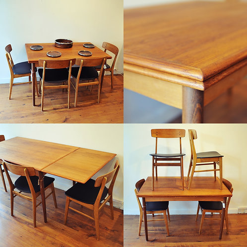 Fabulous Danish Modern Teak Dining Table and Chairs