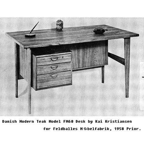 Danish Modern Teak Desk by Kai Kristiansen for Feldballes Mobelfabrik