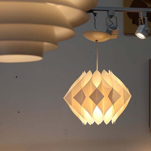 Vintage MCM White Plastic Pendant Lamp