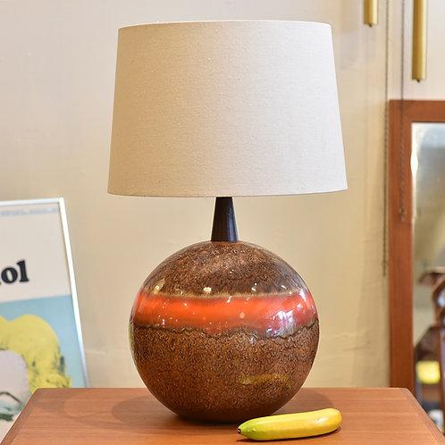 Fab German pottery sphere lamp