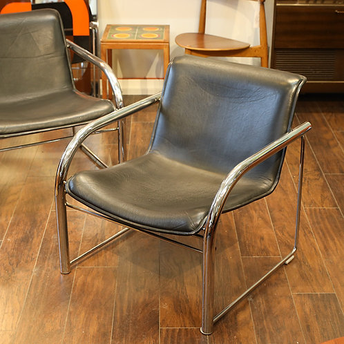 Vintage Leather & Chrome RS48 Lounge Chairs by Richard Schultz for Nienkamper