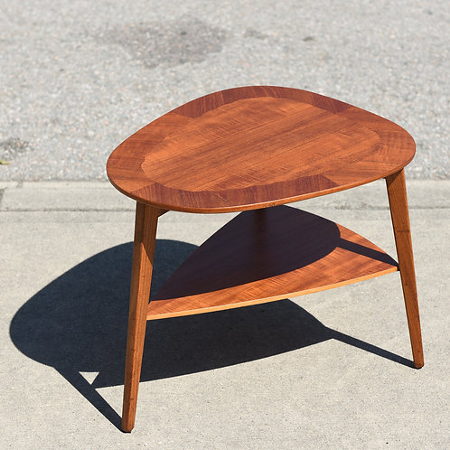 Danish Teak Triangle Side Table with a Magazine Shelf