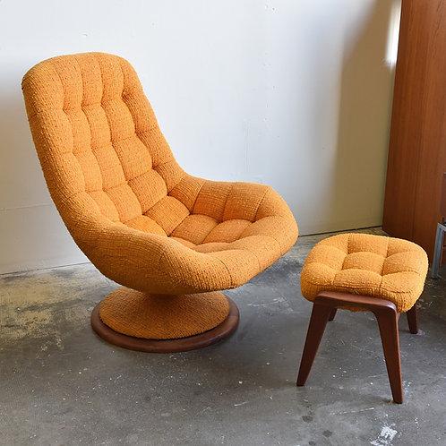 R Huber, Iconic Canadian Mid century modern teak lounger+ matching stool